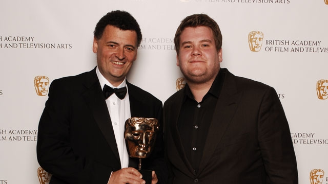 Steven Moffat, winner of the Writer category at the British Academy Television Craft Awards in 2008, with award presenter James Corden.