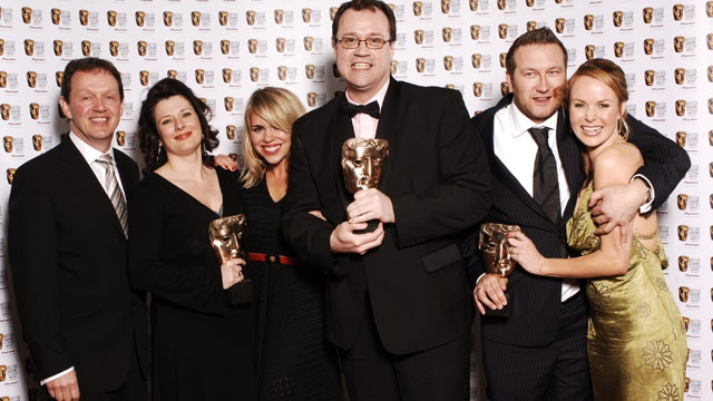 The team from Doctor Who in press room after winning the Drama Series category at the British Academy Television Awards in 2006.