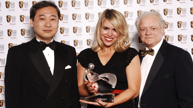 Billie Piper in the press room after Doctor Who picked up the Pioneer Audience Award at the British Academy Television Awards in 2006.