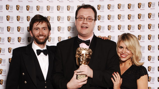 Russell T Davies - recipient of the Dennis Potter Award at the British Academy Television Awards in 2006 - with Doctor Who actors David Tennant and Billie Piper.