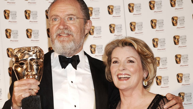 Jim Broadbent, winner of the Actor category at the Pioneer British Academy Television Awards in 2007, in the press room with Brenda Blethyn.