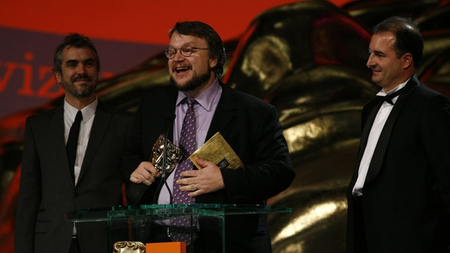 Alfonso Cuarón, Guillermo Del Toro and Alvaro Augustin (Pan's Labyrinth) win the Film Not In The English Language award, presented at the Orange British Academy Film Awards in 2007.