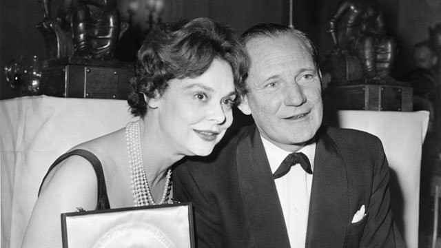 Trevor Howard, winner of the British Actor award for The Key, with British Actress winner Irene Worth