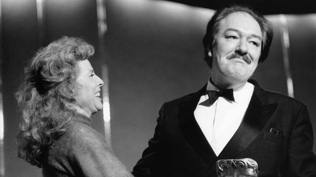 Michael Gambon accepts the award for TV Actor, presented by Billie Whitelaw