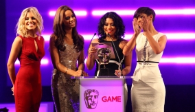 The Saturdays presenting at the BAFTA Video Games Awards