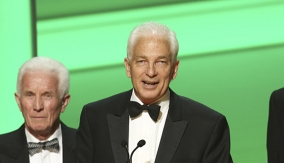 David Gower accepts the award