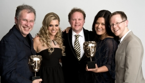 Winners and presenter in Press Room