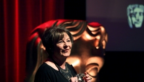 Delia shows off her BAFTA