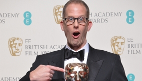 Pete Docter in the press room with his newly-acquired BAFTA
