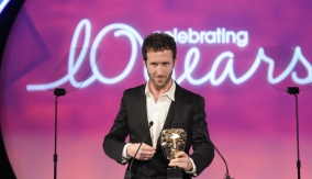 Matthews with his BAFTA award