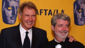 Lucas with Harrison Ford
