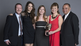 The winners backstage with Katherine Mills