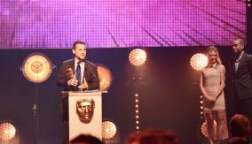 David Levine accepts the award