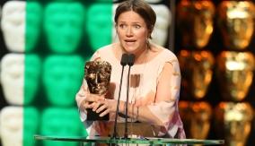 Jessica Hynes at the podium