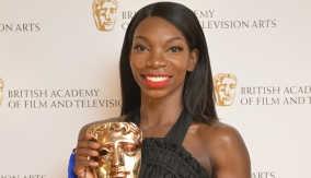 Michaela Coel in the press room