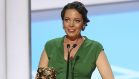 Olivia Colman at the podium