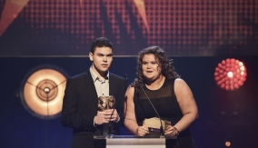 Gogglebox stars Amy & Josh Taper present the award