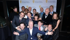 The winners in the press room with Keith Chegwin
