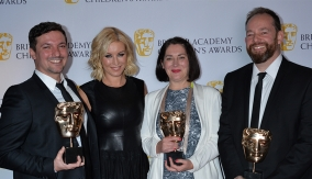 The winners in the press room with Denise van Outen