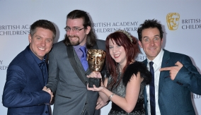 The winners in the press room with Dick & Dom