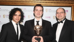 With the winner (centre)
