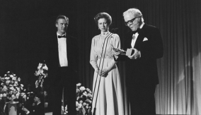 Collecting the award