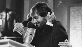 Celebrating at the podium