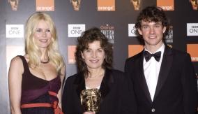 With Claudia Schiffer (left)