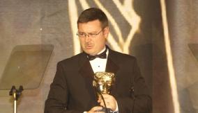 At the Games Awards podium