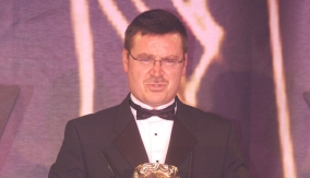 At the podium in 2005