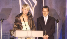 At the podium