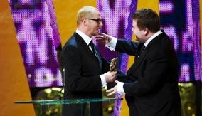 Simon Pegg with James Corden