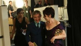 Colman with Martin Freeman