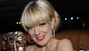Backstage with her award
